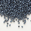 Seed bead, Delica®, glass, opaque matte metallic luster grey blue, (DB301), #11 round. Sold per pkg of 7.5 grams.