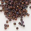Seed bead, Delica®, glass, opaque matte metallic rainbow bronze, (DBL312), #8 round. Sold per 50-gram pkg.
