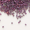 Seed bead, Delica®, glass, opaque metallic luster rainbow grape, (DB1012), #11 round. Sold per pkg of 7.5 grams.