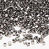 Seed bead, Delica®, glass, opaque nickel-finished steel, (DBL21CUT), #8 cut. Sold per 50-gram pkg.