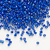 Seed bead, Delica®, glass, opaque rainbow royal blue, (DB216), #11 round. Sold per pkg of 50 grams.