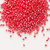 Seed bead, Delica®, glass, opaque rainbow sunset red, (DB159), #11 round. Sold per pkg of 50 grams.