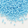 Seed bead, Delica®, glass, opaque rainbow turquoise blue, (DB164), #11 round. Sold per pkg of 50 grams.
