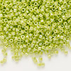 Seed bead, Delica®, glass, opaque rainbow yellow/green, (DB169), #11 round. Sold per pkg of 7.5 grams.