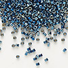 Seed bead, Delica®, glass, opaque steel blue, (DB514), #11 round. Sold per pkg of 7.5 grams.