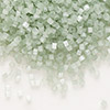 Seed bead, Delica®, glass, silk medium green, (DB829), #11 round. Sold per pkg of 50 grams.