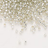 Seed bead, Delica®, glass, silver-lined clear, (DB1431), #11 round. Sold per pkg of 50 grams.
