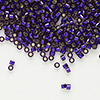 Seed bead, Delica®, glass, silver-lined dark purple, (DB609), #11 round. Sold per 50-gram pkg.