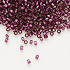 Seed bead, Delica®, glass, silver-lined dark rose, (DB1342), #11 round. Sold per 7.5-gram pkg.