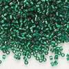 Seed bead, Delica®, glass, silver-lined emerald green, (DB605), #11 round. Sold per 50-gram pkg.