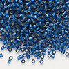 Seed bead, Delica®, glass, silver-lined frosted medium blue, (DB693), #11 round. Sold per 7.5-gram pkg.