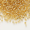 Seed bead, Delica®, glass, silver-lined gold, (DB42), #11 round. Sold per pkg of 7.5 grams.