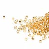 Seed bead, Delica®, glass, silver-lined gold, (DB42CUT), #11 cut. Sold per pkg of 50 grams.