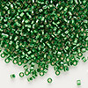 Seed bead, Delica®, glass, silver-lined green, (DB46), #11 round. Sold per pkg of 7.5 grams.