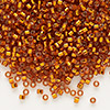 Seed bead, Delica®, glass, silver-lined light orange, (DB1333), #11 round. Sold per 7.5-gram pkg.