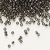 Seed bead, Delica®, glass, silver-lined smoke, (DB613), #11 round. Sold per 7.5-gram pkg.