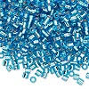 Seed bead, Delica®, glass, silver-lined transparent aqua blue, (DBL44), #8 round, 1.5mm hole. Sold per 50-gram pkg.