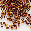 Seed bead, Delica®, glass, silver-lined transparent dark topaz brown, (DBL144), #8 round, 1.5mm hole. Sold per pkg of 50 grams.