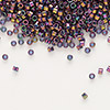 Seed bead, Delica®, glass, transparent luster rainbow amethyst purple gold, (DB128), #11 round. Sold per pkg of 50 grams.