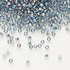 Seed bead, Delica®, glass, transparent luster rainbow light grey, (DB111), #11 round. Sold per pkg of 50 grams.