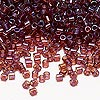 Seed bead, Delica®, glass, transparent luster rainbow raspberry, (DBL104), #8 round. Sold per 7.5-gram pkg.