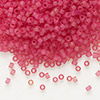 Seed bead, Delica®, glass, transparent matte hot pink, (DB778), #11 round. Sold per 7.5-gram pkg.