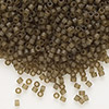 Seed bead, Delica®, glass, transparent matte luster khaki, (DB384), #11 round. Sold per pkg of 50 grams.