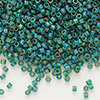 Seed bead, Delica®, glass, transparent matte rainbow emerald green, (DB859), #11 round. Sold per pkg of 7.5 grams.