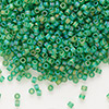 Seed bead, Delica®, glass, transparent matte rainbow pistachio, (DB858), #11 round. Sold per pkg of 50 grams.