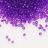 Seed bead, Delica®, glass, transparent violet, (DB1315), #11 round. Sold per 7.5-gram pkg.
