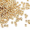 Seed bead, Dyna-Mites™, glass, 24Kt gold-finished, #11 round. Sold per 500-gram pkg.