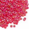 Seed bead, Dyna-Mites™, glass, frosted red AB, #11 round. Sold per 1/2 kilogram pkg.