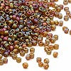 Seed bead, Dyna-Mites™, glass, frosted root beer AB, #11 round. Sold per 40-gram pkg.