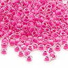 Seed bead, Dyna-Mites™, glass, inside color hot pink, #6 round. Sold per 40-gram pkg.