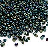 Seed bead, Dyna-Mites™, glass, iris green, #11 round. Sold per 40-gram pkg.