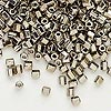 Seed bead, Dyna-Mites™, glass, nickel-finished, #6 hex. Sold per 1/2 kilogram pkg.