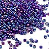 Seed bead, Dyna-Mites™, glass, opaque rainbow dark blue, #11 round. Sold per 40-gram pkg.