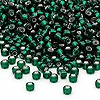 Seed bead, Dyna-Mites™, glass, silver-lined dark green, #8 round. Sold per 1/2 kilogram pkg.