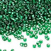 Seed bead, Dyna-Mites™, glass, silver-lined emerald green, #11 round with square hole. Sold per 1/2 kilogram pkg.