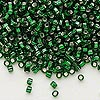 Seed bead, Dyna-Mites™, glass, silver-lined emerald green, #8 round with square hole. Sold per 1/2 kilogram pkg.