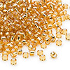Seed bead, Dyna-Mites™, glass, silver-lined gold, #8 round. Sold per 40-gram pkg.