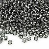 Seed bead, Dyna-Mites™, glass, silver-lined gunmetal, #8 round. Sold per 40-gram pkg.