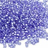 Seed bead, Dyna-Mites™, glass, silver-lined light blue matte, #11 round with square hole. Sold per 1/2 kilogram pkg.