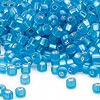 Seed bead, Dyna-Mites™, glass, silver-lined matte aqua, #6 round with square hole. Sold per 1/2 kilogram pkg.