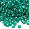 Seed bead, Dyna-Mites™, glass, silver-lined matte jade green, #6 round with square hole. Sold per 40-gram pkg.