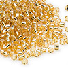Seed bead, Dyna-Mites™, glass, silver-lined medium gold, #8 round. Sold per 1/2 kilogram pkg.