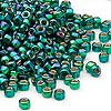 Seed bead, Dyna-Mites™, glass, silver-lined rainbow emerald green, #6 round with square hole. Sold per 40-gram pkg.
