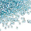 Seed bead, Dyna-Mites™, glass, silver-lined rainbow light aqua, #11 round with square hole. Sold per 1/2 kilogram pkg.