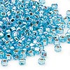 Seed bead, Dyna-Mites™, glass, silver-lined rainbow light aqua, #6 round with square hole. Sold per 1/2 kilogram pkg.
