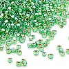 Seed bead, Dyna-Mites™, glass, silver-lined rainbow lime, #11 round with square hole. Sold per 1/2 kilogram pkg.
